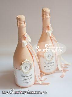 Свадебное шампанское, шампанское на свадьбу, украшение, оформление бутылки шампанского. | Творческая мастерская Скарбнычка. Свадебные аксессуары ручной работы, свадебные букеты, букет невесты, оформление свадьбы, выездная церемония