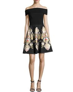 Airlo+Opulent+Jacquard+Bardot+Dress,+Black+by+Ted+Baker+London+at+Neiman+Marcus.
