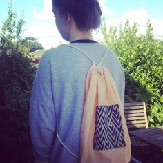 Yellow Fairtrade Cotton Backpack with a Handprinted Art Deco Style pocket by ROAMbyIsobelle on Etsy