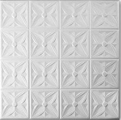 A la Maison Ceilings 8111 Styrofoam Ceiling Tile (Package Of 8 Tiles), Plain White