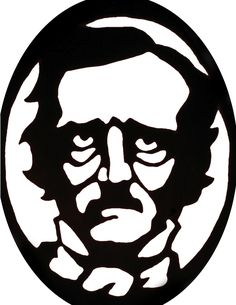 Edgar Allen Poe pumpkin carving stencil template. Poke tiny holes to trace and cut out the white sections.