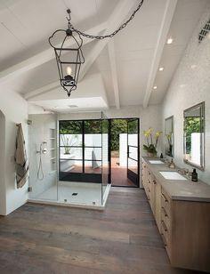 wood + white chic bathroom