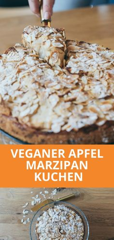 veganer Apfel Marzipan Kuchen This cake is definitely one of the best vegan cakes out there. The combination of almonds, apples and marzipan makes the cake super juicy and tastes heavenly. Baking Recipes, Cake Recipes, Vegan Recipes, Food Cakes, Desserts Végétaliens, Marzipan Cake, Vegan Wedding Cake, Vegan Sweets, Food Inspiration