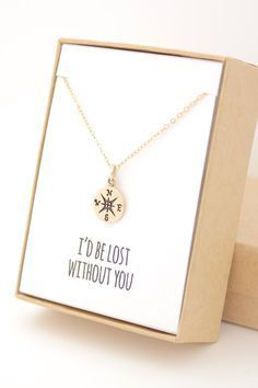 """""""I'd be lost without you"""" gold compass necklace. You can customize the note in the gift box to say anything you want. Great gift for mom, girlfriend, sister, wife, or best friend!"""