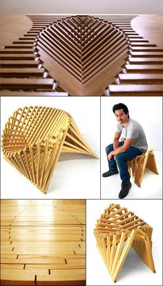 """Netherlands-based designer Robert van Embricqs' """"Rising"""" series of furniture, comprised of a stool, chair and table:"""