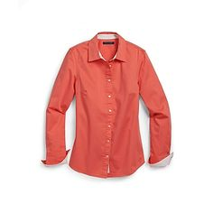 Tommy Hilfiger women's shirt. Our staple dress shirt is fashioned from stretch cotton for comfort & tailored to flatter a lady's curves • Classic fit • 97% cotton, 3% elastane. They say green is the seasons hot color, but I'm loving the corals just as much.