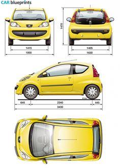 2005 Peugeot 107 Hatchback blueprint