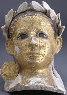 Mummy mask, plaster, Egypt, early 100s, Roman. A really fascinating fusion of Roman and Egyptian cultures and symbols.