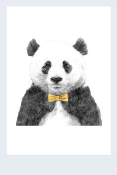 Panda in a bow tie print