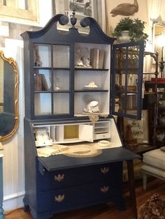 A lovely, antique Secretary donning Napoleonic Blue (w/ English Yellow accents) Chalk Paint Decorative a Paint by Annie Sloan.