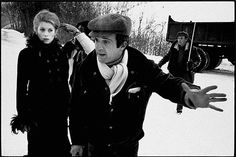 "Catherine Deneuvre and Francois Truffaut shooting ""Mississippi Mermaid""."