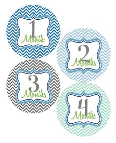 Boy Monthly Onesie Stickers - Month by Month Stickers - Baby Monthly Stickers - Blue, Green & Grey Chevron Month Stickers - Chris via Etsy