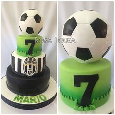 Soccer Birthday Cakes, Football Birthday, Happy Birthday Cakes, 6th Birthday Parties, Soccer Ball Cake, Soccer Party, Juventus Cake, Fondant Cupcakes, Cupcake Cakes