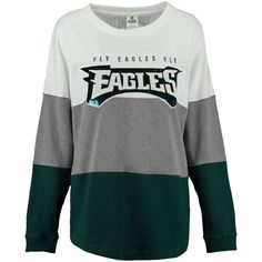 Women's Philadelphia Eagles PINK by Victoria's Secret Midnight Green/Gray/White Bling Varsity Crew Neck Sweatshirt
