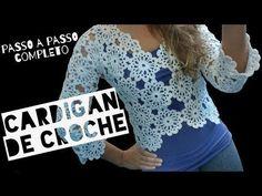 Cardigan/casaquinho de crochê ♥ Passo a passo completo - YouTube