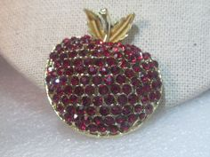 "Vintage Red Rhinestone Apple Brooch, Enameled Leaves, 1.75"", Gold TOne #Unbranded"