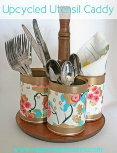 upcycled utensil caddy from a plant stand and tin cans, cleaning tips, crafts, repurposing upcycling upcycled crafts Silverware Caddy, Utensil Storage, Utensil Racks, Upcycled Crafts, Diy Crafts, Kitchen Utensil Organization, Kitchen Utensils, Condiment Caddy, Tin Can Crafts