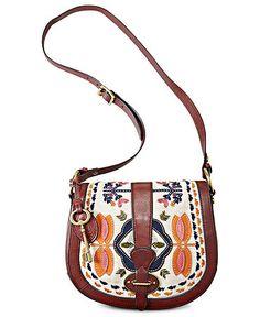 Fossil Handbag, Vintage Re-Issue Embroidered Flap - Handbags & Accessories - Macy's Crossbody Messenger Bag, Backpack Purse, Handbag Accessories, Fashion Accessories, Fossil Handbags, Fossil Purses, Fossil Watches, Vintage Handbags, Vintage Bag