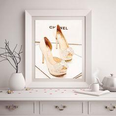 Chanel Shoe Watercolor Art Print Coco Chanel Shoe by ChezLorraines
