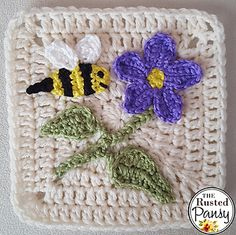 Ravelry: Wildflower & Bee Applique pattern by The Rusted Pansy