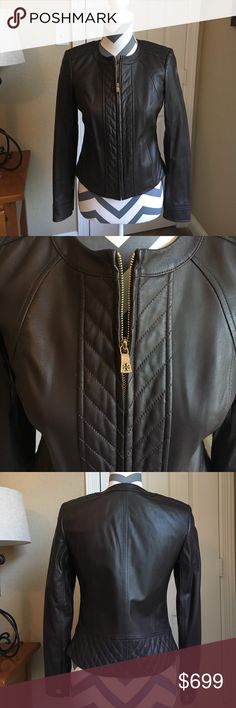 NWT TORY BURCH DAPHNE BROWN LEATHER JACKET! NWT TORY BURCH DAPHNE BROWN LEATHER JACKET! Style: 31688 Color: 212 with a gold zipper up the front and gold logo buttons on the sleeves! It's a flattering fit and a FIND!! Brand new, never worn with the tags!! Tory Burch Jackets & Coats