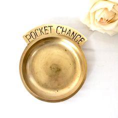 Brass Pocket Change Dish by EllasAtticVintage on Etsy Vintage Home Decor, Brass, Change, Dishes, Pocket, Store, Etsy, Tablewares, Larger