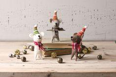 Felt Dancing Christmas Mice, 3 Assorted Styles, Set of 6