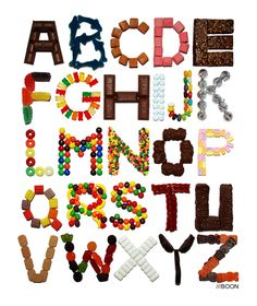 Mike BaBoon Design: Candy Alphabet  Each letter made from a confection that starts with that letter.  Cute!