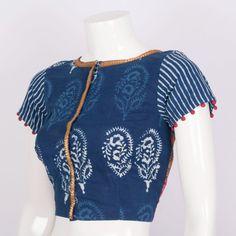 Svasa Hand Block Printed Ikat Cotton Blouse 10008871 - Size 34 - profile - AVISHYA.COM