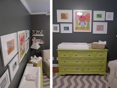 Don't worry, I'm not looking for a nursery but I really like this color scheme!  A pop of green with cute hardware against the gray and white, and the frames just go along great with it too