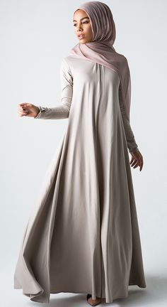 Shape Up: Empire waist flatters in  this no-color abaya   #hijabi #muslimah #abaya #modest