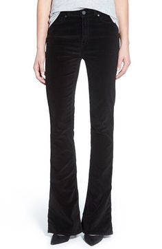 Paige Denim 'Lou Lou' Velvet Flare Jeans (Black Overdye) available at #Nordstrom