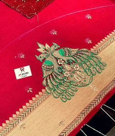 Peacock Embroidery Designs, Simple Embroidery Designs, Embroidery Works, Best Blouse Designs, Simple Blouse Designs, Bridal Blouse Designs, Beginner Henna Designs, Peacock Design, Hand Designs