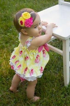 Lola Yellow Rose Baby Bubble - Kinder Kouture Boutique Clothing - 1