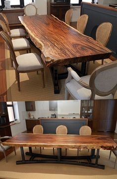 A large dining table is made of suar wood with a lively . Die Dicke A large dining table is made of suar wood with a lively, natural edge. Table Wood Design, Dining Table Design, Dining Decor, Unique Dining Tables, Dinning Room Tables, Wooden Dining Tables, Wood Slab Table, Large Dinning Table, Round Dining