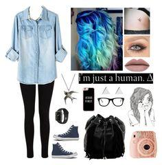 """I'm just a human"" by natalialovesnutella ❤ liked on Polyvore featuring Miss Selfridge, Converse, Steve Madden, Casetify, Jennifer Meyer Jewelry and Muse"
