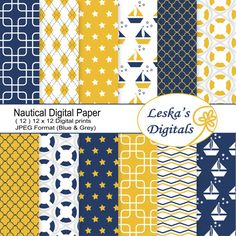 Nautical digital download patterns for home decor, scrapbooking and craft projects