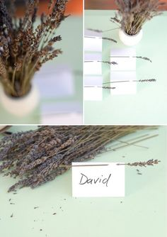 Lavender escort cards are easy, lovely and smell great! How many #wedding DIY projects can say that?
