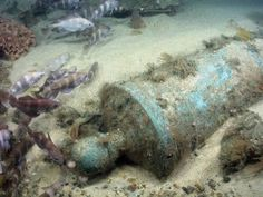 A cannon from the wreck of HMS Victory (1744). A Decade Underwater - Sean Kingsley, Director, Wreck Watch, London.