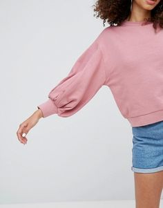Find the best selection of ASOS Cropped Sweatshirt with Pretty Bell Sleeve. Shop today with free delivery and returns (Ts&Cs apply) with ASOS! Sweat Shirt, Fashion Online, Bell Sleeves, Winter Fashion, Asos, Clothes For Women, My Style, Pretty, How To Wear