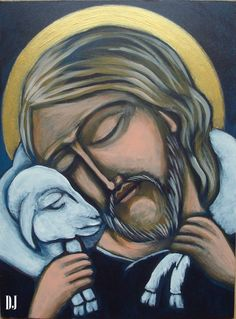 'Religious Canvas Painting of Jesus with a Lamb (Jezus z Barankiem)' Jesus Christ Painting, Jesus Art, St John's Bible, Bible Art, Pictures Of Christ, Religious Pictures, Catholic Priest, Catholic Art, Religious Paintings