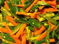 Chili Carrot Indian Pickle 5 to 6 oz green chilies 2 carrots 2 tbsp lemon juice 3 tbsp vegetable or canola oil 1 tsp turmeric 1 tsp split mustard seeds 1 to 1 1/2 tsp salt