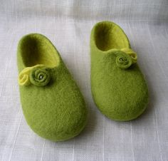 Handmade felted slippers / wool shoes for kids / gift for girl / eco friendly /  non slippery soles.
