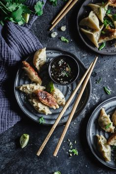Pan-fried Brussels Sprout & Chicken Gyoza - Use Your Noodles Calzone, Quesadillas, Tostadas, Bun Burger, Chutney, Easy Asian Recipes, Ethnic Recipes, Chicken Gyoza, Rustic Food Photography