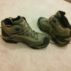 Merrell womens hiking boots size 7.5 Absolutely flawless condition as they have never been worn. Bought a few years ago but ended up using an old pair of hiking shoes, so these are untouched! Waterproof tan/black/taupe in color, size 7.5 Merrell Shoes Athletic Shoes