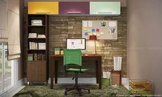 Conjunto Home Office com Mesa, Cadeira, Estante e Armários Imbuia/Preto/Capuccino/Branco/Verde/Roxo/Amarelo - Caaza