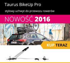 NOWOŚĆ W NASZEJ OFERCIE! Taurus BikeUp Pro to profesjonalna wersja uchwytu Taurus BikeUp, dotychczas niekwestionowanego lidera sprzedaży w swojej kategorii. Nowy bagażnik posiada wszystkie zalety swojego młodszego brata. Dodatkowo został wyposażony w: - zamek zabezpieczający go przed kradzieżą,  - specjalnie wyprofilowaną szynę o doskonałych właściwościach aerodynamicznych, - jeszcze szybszy system montażu, bez użycia dodatkowych narzędzi. Więcej o uchwycie przeczytacie: bit.ly/1rbKsL2