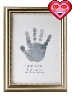 """A unique #gift for baby's baptism. A 5x7 silver beaded frame with embossed artwork to hold baby's handprint. Sentiment reads: """"Lord teach my little hands to pray..."""