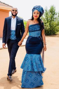 and 's traditional wedding 💍💍💍💍 . African Print Wedding Dress, African Wedding Attire, African Print Dresses, African Attire, African Dress, African Weddings, African Clothes, Sotho Traditional Dresses, South African Traditional Dresses