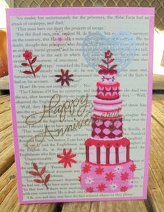 Anniversary Cake handmade card FWB by RogueKissedCraft on Etsy Happy Anniversary, Anniversary Cards, Pink Flowers, Etsy Store, Greeting Cards, Romance, Awesome, Unique Jewelry, Handmade Gifts